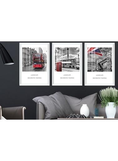 Çerçeve Home  London Pictures Beyaz Çerçeve Tablo Seti Beyaz